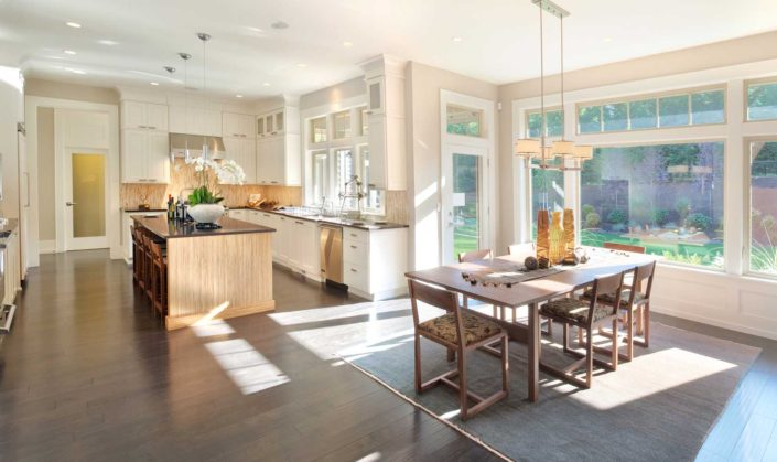 Airy, sunny, open kitchen and dining room.