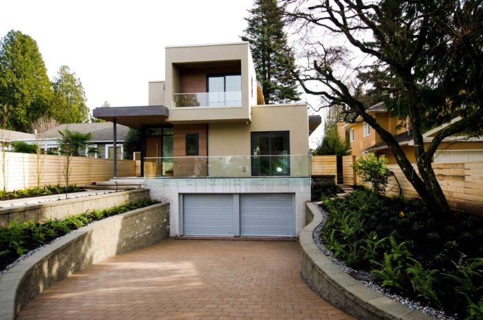 Boxy West Coast Contemporary custom home in West Vancouver neighbourhood.
