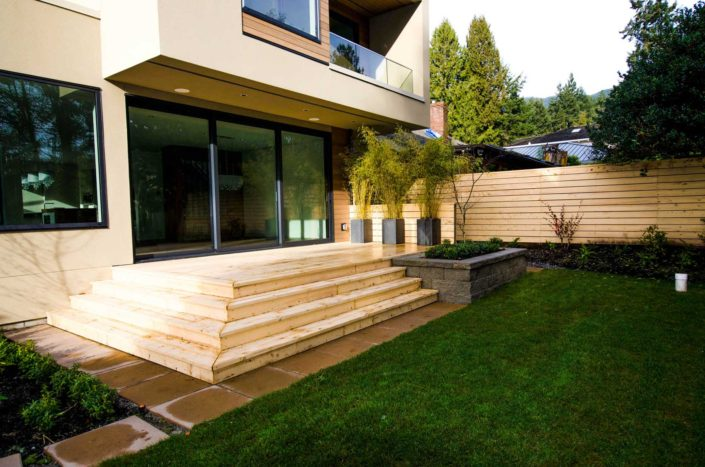Wood four-tiered deck in West Vancouver custom home.