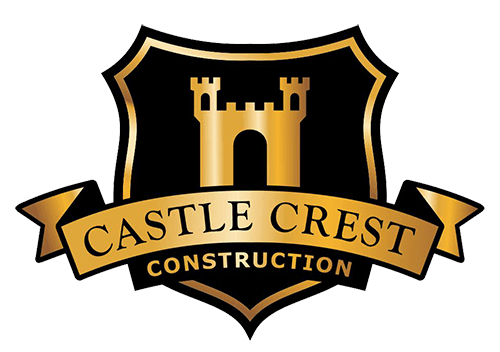 Castle Crest Construction Logo. Black shield with gold accents.